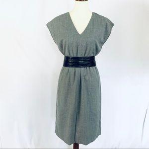 JCREW Black Label Gray V-neck Dress